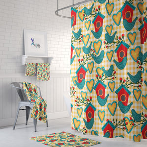 Meadow Lovebird Floral Shower Curtain Options Bathroom Decor
