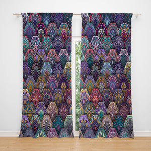 Boho Mandala Scales Sheer and Blackout Window Curtains