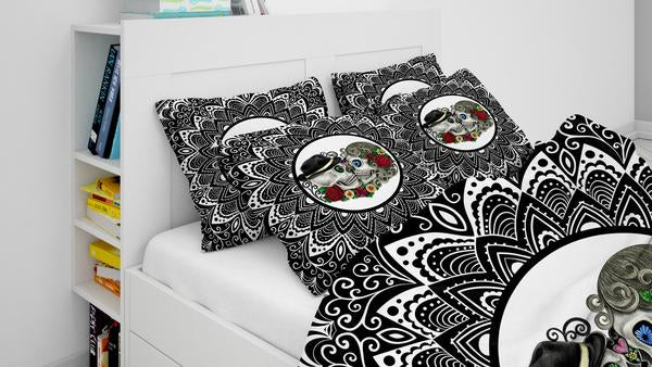 Black and White Forevermore Kissing Sugar Skull Comforter or Duvet Cover Bedroom Set