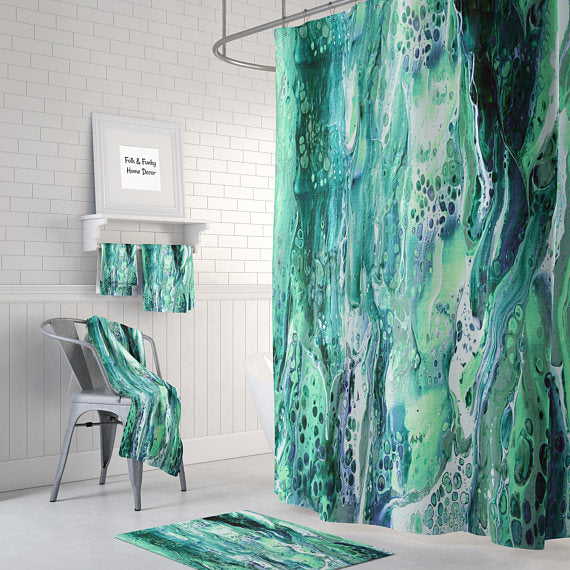 Teal Aqua Marble Abstract Shower Curtain by Folk N Funky