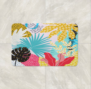 Modern Leaves Abstract Shower Curtain Bathroom Decor