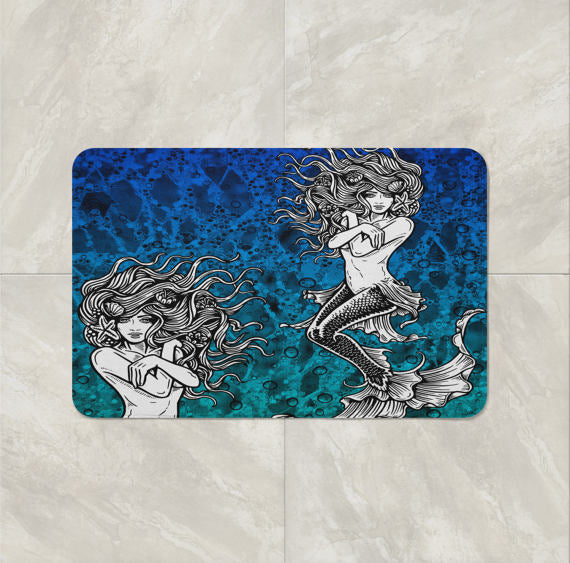 Ombre Aqua Mermaid Shower Curtain, Bath Mat & Towels Bathroom Decor