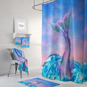 Mermaid Tail Pastel Ocean Sky Shower Curtain by Folk N Funky