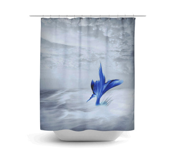 Mermaid Talk Stormy Sea Shower Curtain by Folk N Funky