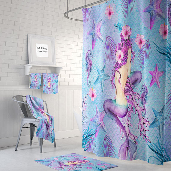 Pink Teal And Purple Mermaid Watercolor Shower Curtain By Folk N Funky