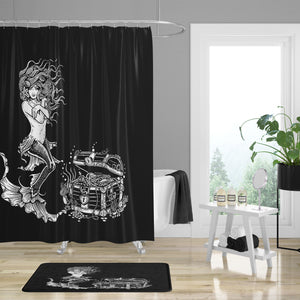 Black Mermaid Sea Treasures Shower Curtain, Bath Mat & Towels Bathroom Decor
