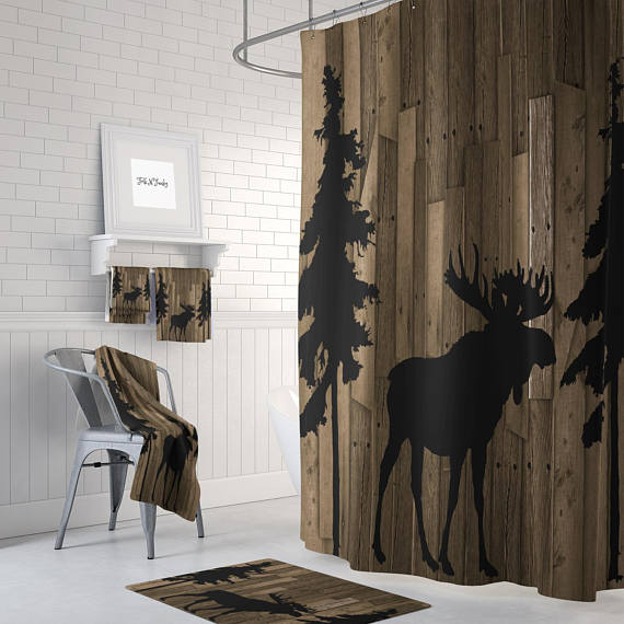 Rustic Woodland Moose Shower Curtain By Folk N Funky