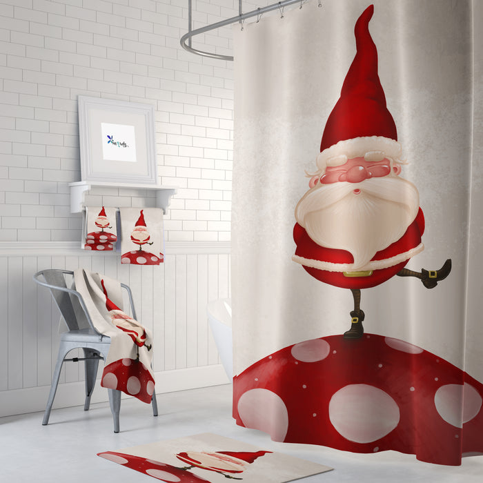 Santa Whimsy Shower Curtain Christmas Bathroom Decor