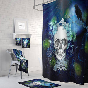 Navy Twilight Gothic Skull Shower Curtain, Bath Mat, Bath & Hand Towels