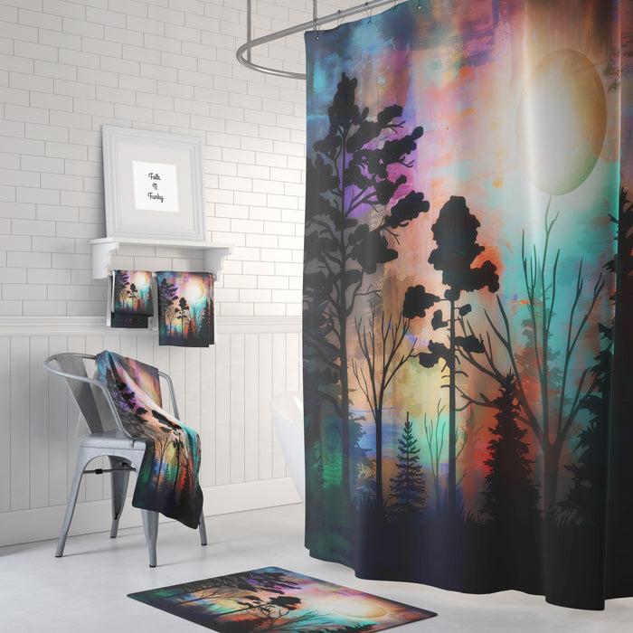 The Forest Sunset Northern Lights Shower Curtain