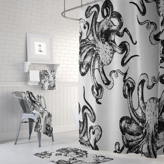 Folk N Funky Bathroom Design Decor Black and White Octopus Shower Curtain, Bathmat & Towels