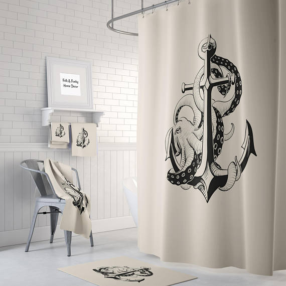 Octopus and Anchor Cream Shower Curtain by Folk N Funky