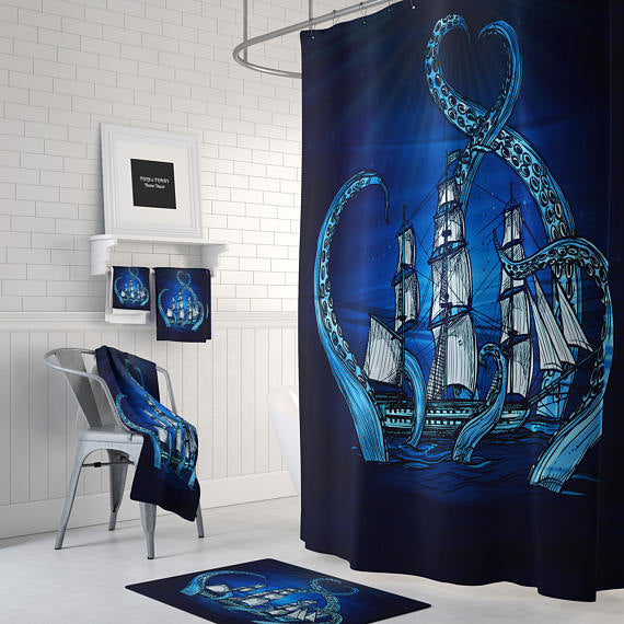 The Blue Kraken Octopus and Ship Shower Curtain