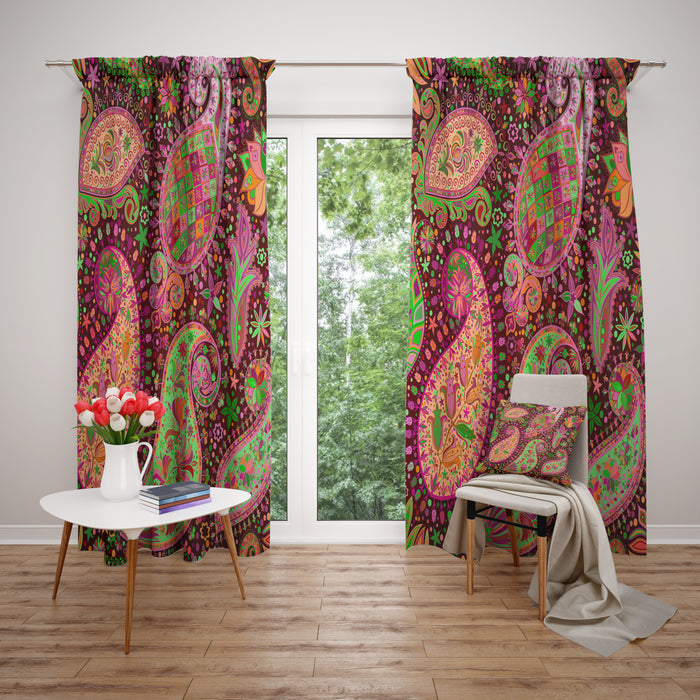 Boho Soul Paisley Sheer and Blackout Window Curtains