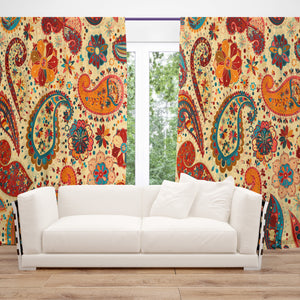 Hippie Paisley Bold Window Curtains, Block Out and Sheers