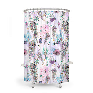 Coastal Sealife Watercolor Shower Curtain Optional Accessories