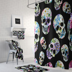 Black Flowered Skulls Shower Curtain, Folk N Funky Skull Decor