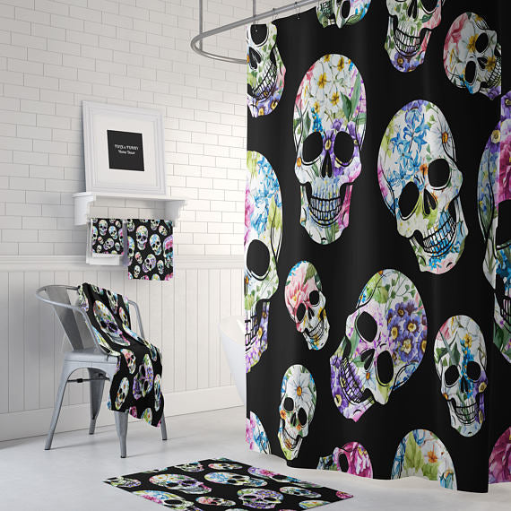 Floral Skulls Shower Curtain