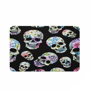 Black Flowered Skulls Bathmat, Folk N Funky Skull Decor