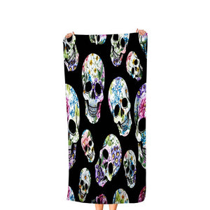 Black Flowered Skulls Bath Towel, Folk N Funky Skull Decor