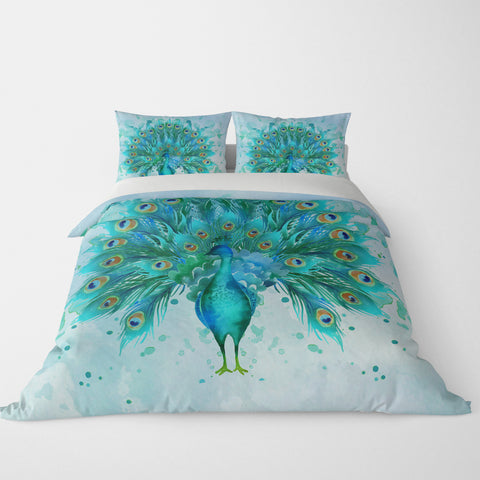Watercolor Peacock Comforter, Or Duvet Cover , Pillow Shams