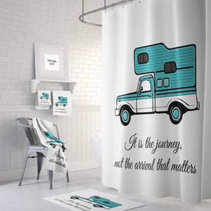 Retro Pick-Up Truck With Camper Shower Curtain, Journey Quote