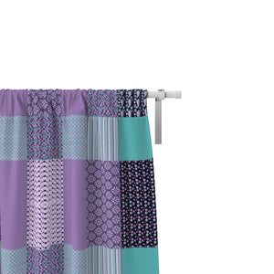 Purple Faux Patchwork Window Curtains, Boho Chic Window Treatments