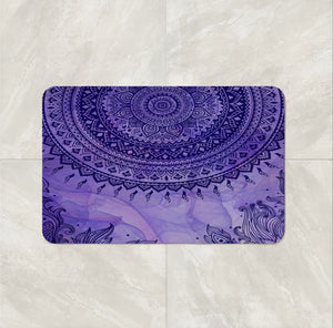 Purple Gypsy Boho Shower Curtain by Folk N Funky  Bath Mat