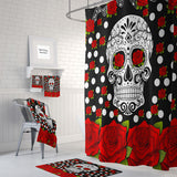 The Red Rose Sugar Skull Shower Curtain by Folk N Funky