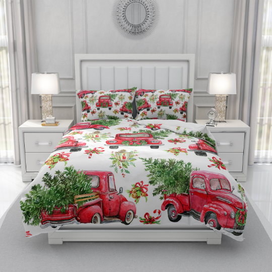 Vintage Red Truck Christmas Comforter or Duvet Cover