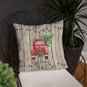 Faux Wood Christmas Throw Pillow, Red Truck with Christmas Trees