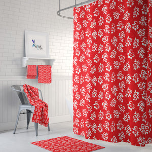 Meadow Roses Red Shower Curtain Options Bathroom Decor