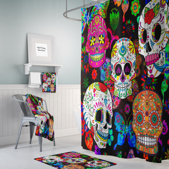 The Rocking Color Sugar Skull Shower Curtain By Folk N Funky
