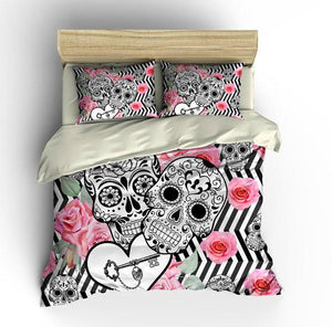 Zig Zag Locked In Love Sugar Skull Comforter or Duvet Cover Bedroom Set
