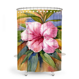 Watercolor Hibiscus Bathroom Decor