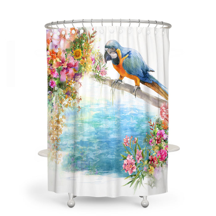 Tropical Bird Floral Bathroom Decor