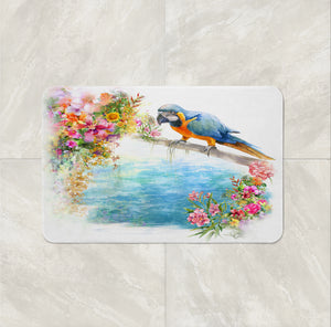 tropical bird bath mat