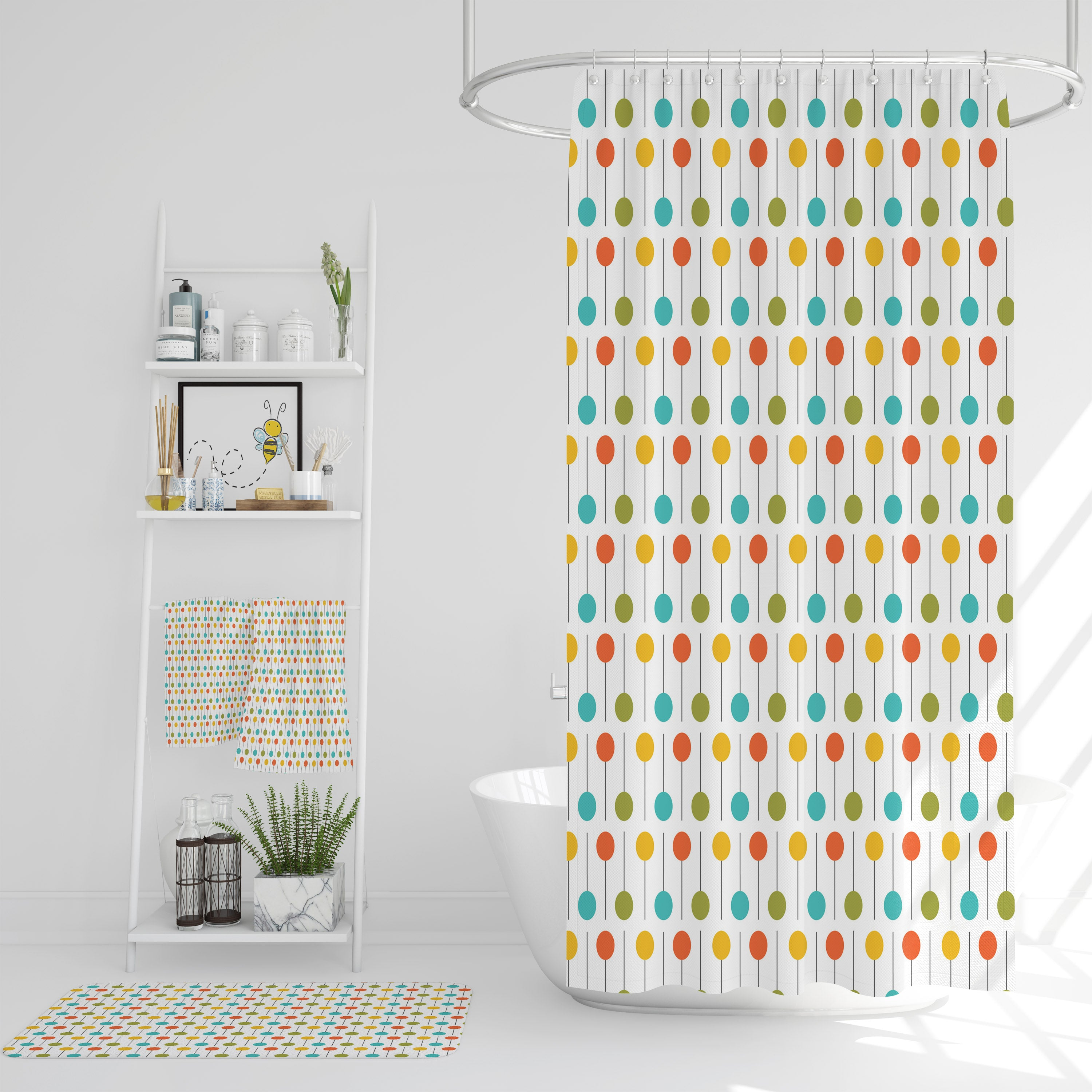 Picture of: Fun Mid Century Modern Shower Curtain Folk N Funky