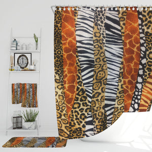 Boho Animal Print  Shower Curtain Safari Bathroom Decor