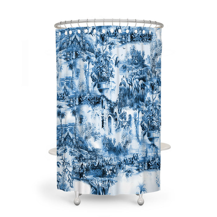 Vintage Blue Shower Curtain Optional Bathroom Decor
