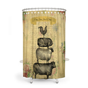 Rustic Farmhouse Shower Curtain, Optional Bath Mat, Towels, Farm Story