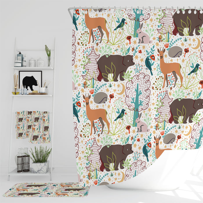 Woodland Animals Shower Curtain Bathroom Decor