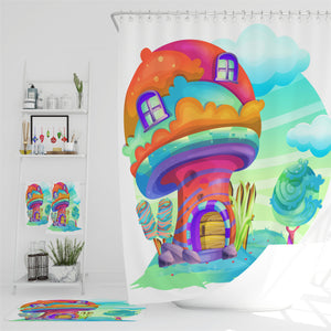 Hippie Mushroom Gnome House Shower Curtain Bathroom Decor