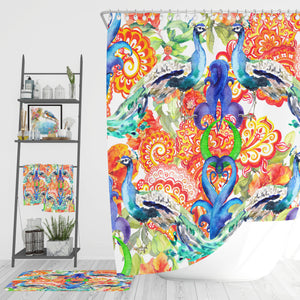 Eclectic Peacock Bathroom Decor Shower Curtain