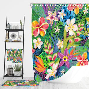 Tropical Wildflowers Bathroom Decor Shower Curtain