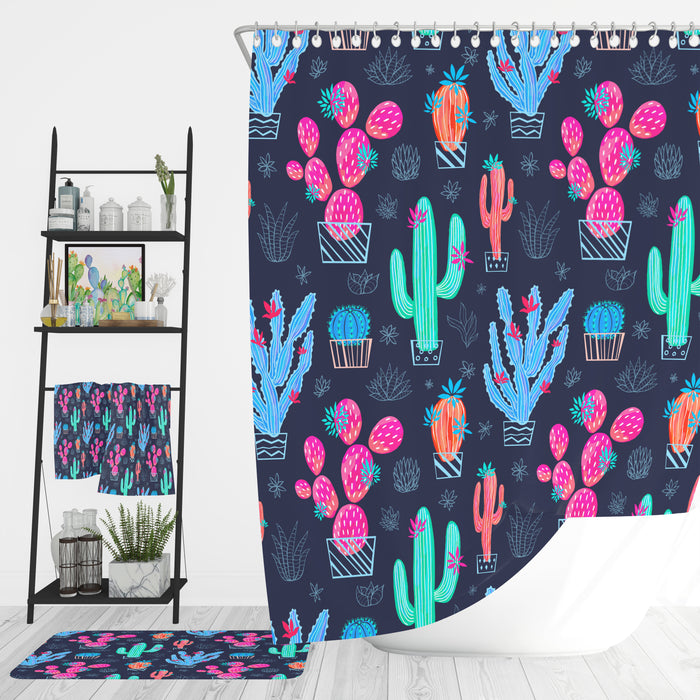 Memphis Cactus Bathroom Decor Shower Curtain