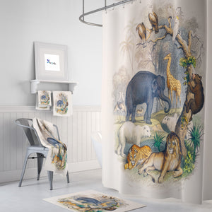 Safari Animals Bathroom Decor Shower Curtain