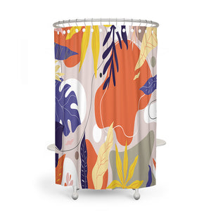 Modern Foliage Abstract Shower Curtain, Towels Mat