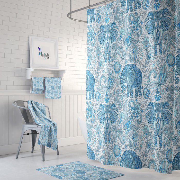 Blue Paisley Elephant Shower Curtain , BohoDecor, Add Bath Mat and Towels For a Bathroom Set