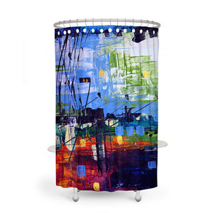 Sea Harbor Abstract Shower Curtain